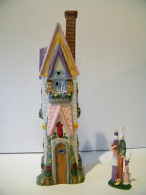 BUNNY FAMILY - LIGHTED PORCELAIN VILLAGE 2pc. SET - THE HOME