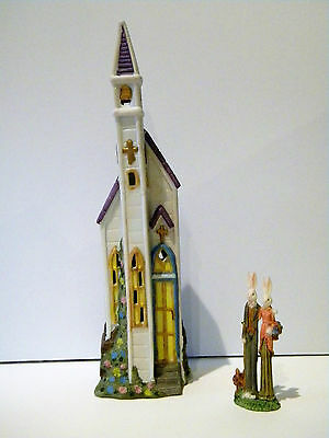BUNNY FAMILY - LIGHTED PORCELAIN VILLAGE 2pc. SET - THE CHURCH