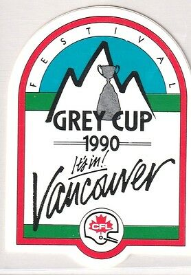 1990 Grey Cup Festival Sticker-Decal CFL Vancouver