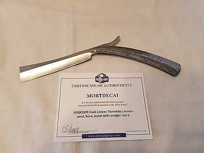 MORTDECAI Screen Used Movie Prop Johnny Pasvolsky STRAIGHT EDGE RAZOR