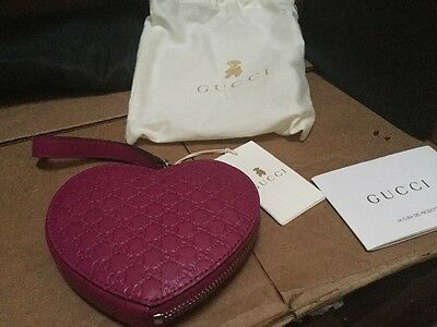 Gucci Girl's Magenta Leather Heart Wristlet NWT