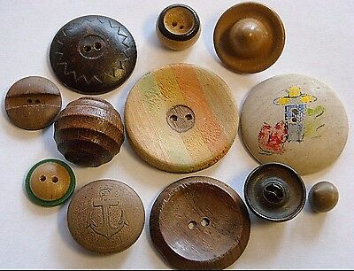 26 Vintage Wooden Buttons~Various Sizes And Shapes~2 Groups Of Photos