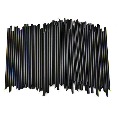 100X Black Plastic Mini Cocktail Straws For Celebration Drinks Party Supplies SM