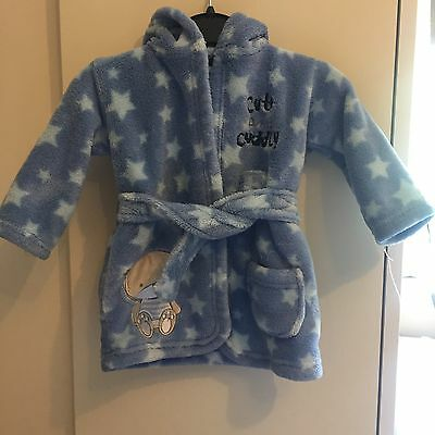 Baby Boy Hooded Dressing Gown 0-6 Months!