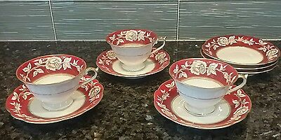 1930s DRESDEN BAVARIA GOLDROSE  SET OF 3 CUP SAUCER+PORCELAIN W CRIMSON 50148