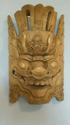 "Chinese Hand Carved Wood HEAD MASK Dragon - 13.5"" x 8.25"" - Blonde Wood"