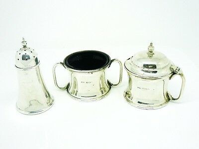 Solid Silver Condiment Set, Sterling, Cruet, Salt, Pepper Mustard Pot, HM 1910
