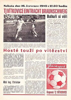 PROGRAMME TJ Vitkovice - Eintracht Braunschweig 16 July 1983 Intertoto Germany
