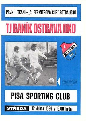 PROGRAMME Banik Ostrava - Sporting Club Pisa 12th April 1989 Supermitropa Italy