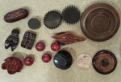 16 Antique Buttons Bakelite Heart Ball Pie Crust Carved