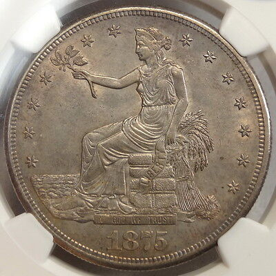 1875-S Trade Dollar, Stunning PQ Uncirculated Coin, CAC Approved, Low Pop