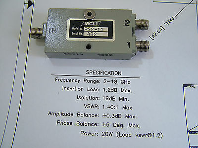 2 - 18GHz 2 way Power Divider 19dB Isolation 20W MCLI PS2-11