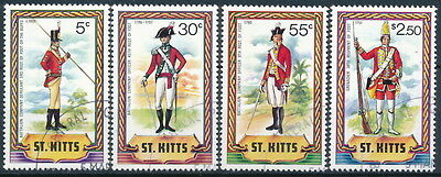 ST. Kitts 1981 Military Uniforms, 4 Different used.