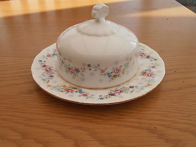 Vintage Paragon Butter Dish And Under Plate In The Spring Garland Pattern