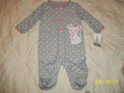 Baby Girls Footed Sleeper - Sz 3 Mos - Gray Polka Dot/mouse - Carters - Nwt!