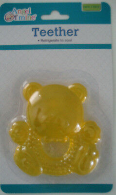 BABY TEETHING TEETHER RING Angel of mine BPA FREE Refrigerate to cool TEDDY BEAR