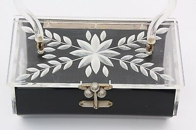 Vintage Lucite Box Purse Black Clear Etched Carved Floral Evening Hand Bag
