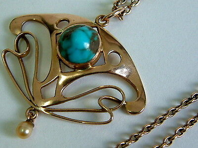 Stunning 9Ct Rose Gold Vintage Art Nouveau Turquoise Pearl Pendant On Chain