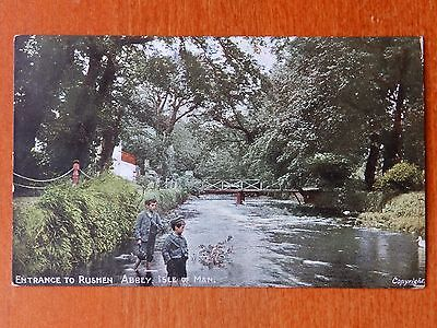 Liver series postcard: Entrance to Rushen Abbey, Isle of Man. Children. River.