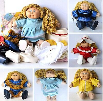 Cabbage Patch Dolls kids vintage lot 80's clothes sleeping bag shoes hat cow boy