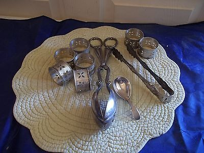 Grab bag of Silverplated Stuff (Flatware, Napkin Rings ) Mixed Lot KN3