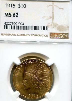 Us 1915 $10 Indian Gold Ngc Ms62