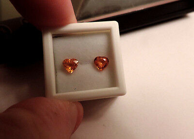 2pc Heart Shaped Natural Orange Sapphires. Cut by me :) 1.75tcw