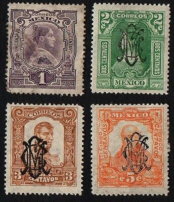 Mexico stamps. Early stamps with overprints. Cancelled