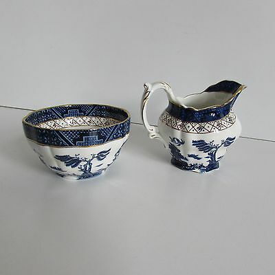 Booths Real Old Willow cream jug and sugar bowl.