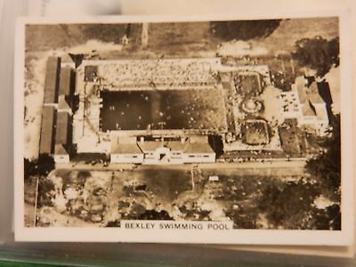 early 20th century trade card  early  aerial photography BEXLEY SWIMMING POOL