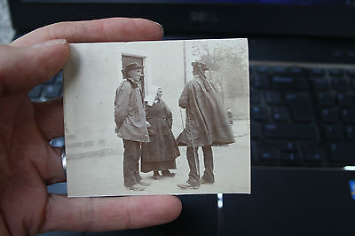 PHOTOGRAPH SEPIA ORIGINAL BRETON COSTUME PONTIUY AUNAY  OLD PHOTO on 1970s card