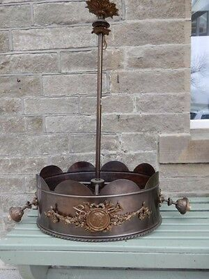 LARGE CHANDELIER BRONZED EMPIRE STYLE CEILING LIGHT FITTING  90cm TALL snooker