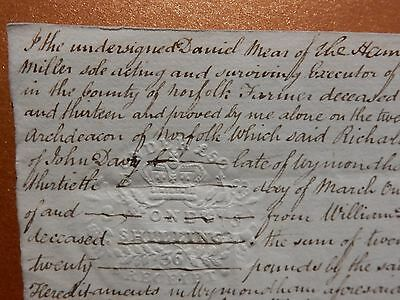 1836 Document of Settlement of The Will John Davy Butcher of Wymondham, Norfolk