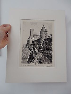 Maurice L.Robin  French Original Etchings print Engraving signed of CARCASSONE