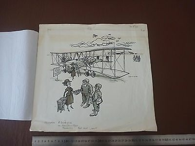 "Transatlantic Flight anniversary Superb Satire - Pen & Ink orig 20th C illus""Bil"