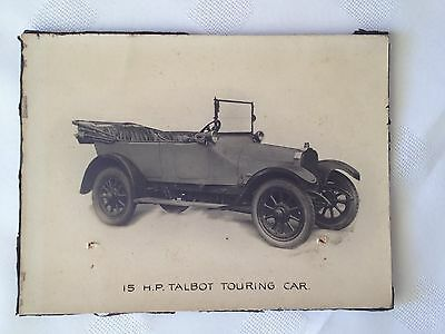 Black and white advertising photograph on card of 15 HP Talbot Touring Car 1911