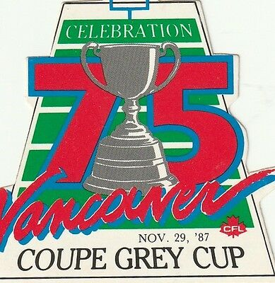 1987 Grey Cup Celebration Sticker-Decal CFL Vancouver