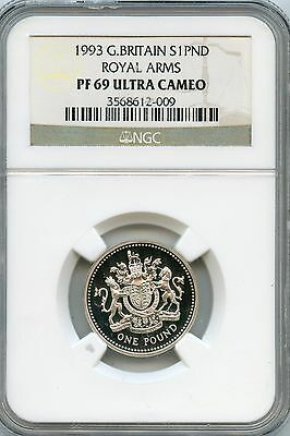 Amazing 1993 NGC PF69 Ultra Cameo Great Britain S1 PND Royal Arms NC947