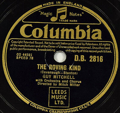 Schellackplatte 78rpm Guy Mitchell The Roving Kind / You're Not In My Arms