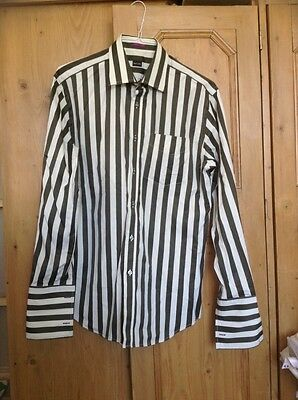 "Paul Smith Striped Blk/grey Men's Formal Shirt Classic 16"" Collar"