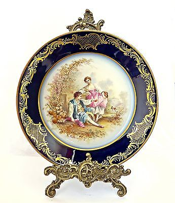 Antique Hand-Painted Sevres Porcelain Plate Signed Poitevin, Romantic Scene,gilt