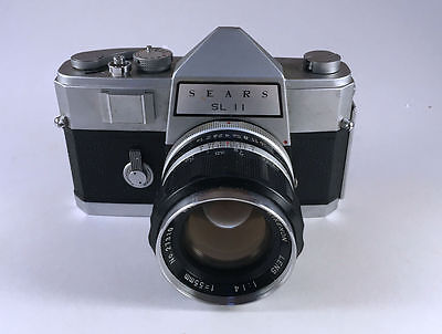 Sears SL11 with standard Rikenon 55mm Lens. 35mm, SLR Camera By Ricoh 1964