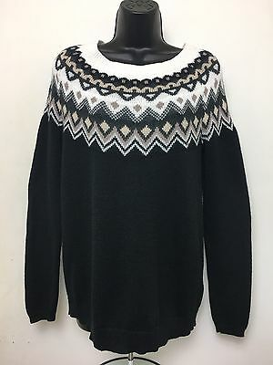 OLD NAVY Maternity Womens Size Small Sweater Fair Isle Black Brown Cotton Blend