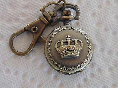 CROWN Coppertone Pocket Watch CLIP ON Key Chain  Montre COURONNE