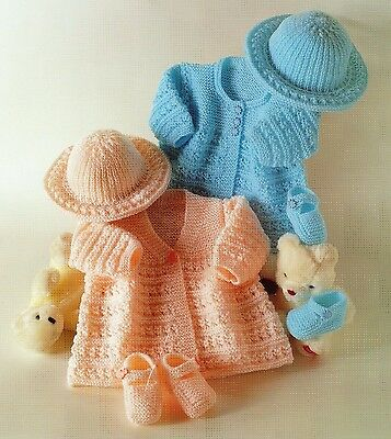 Baby Knitting Pattern Vintage  DK Matinee Coat, Shoes and Hat 14 - 18 Chest #249