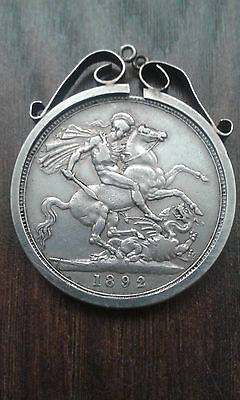 1892 Queen Victoria Sterling Silver Crown Coin With Silver Mount