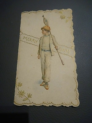 SUPERB LITHOGRAPHIC VICTORIAN CHRISTMAS CARD WITH MARITIME BOY as Rower ?