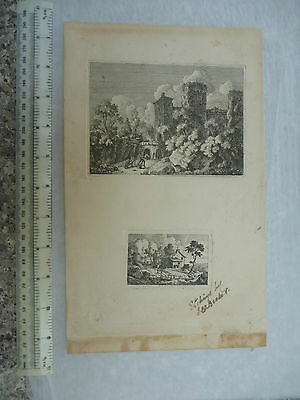 ENGRAVING EARLY ( chepstow castle ?)   provenance Seeger collection to research
