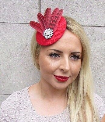 Red Silver Pheasant Feather Pillbox Hat Fascinator Hair Clip Races Vintage 3203