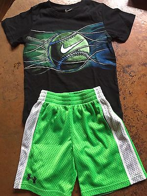 Boys Under Armour shorts & Nike tee outfit size 5-6 black and neon green